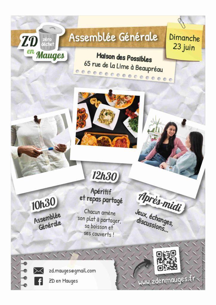 Affiche de l'événement 23 juin 10H30 - AG 12H30 - repas partagé après-midi : jeux, échanges, discussions... Maison des Possibles, 65 rue de la Lime, Beaupréau