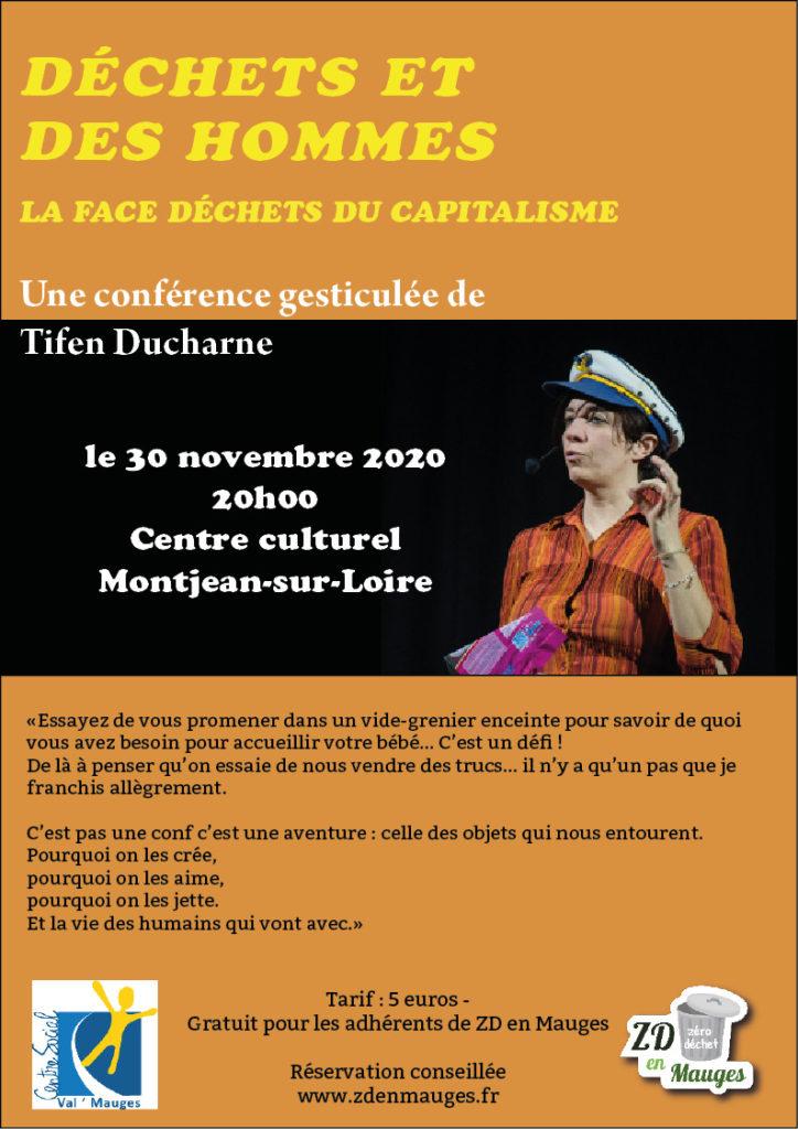 Affiche pour conférence gesticulée Montjean 30 11 2020